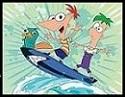 Perry, Phineas y Ferb surfeando